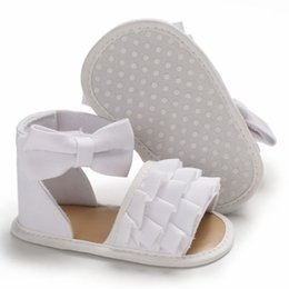 $enCountryForm.capitalKeyWord Australia - Baby Girl Sandals Summer Baby Girl Shoes Cotton Canvas Dotted Bow Sandals Newborn Shoes Beach