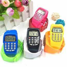 calculator batteries NZ - Kids Calculator With LED Watch Function School Date Time Children's Fashion Digital Silicone Sports Work Fun