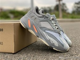 Gray Mens Summer Shoes Australia - Newest Authentic 700 Inertia Wave Runner Kanye West Designer Running Shoes Blue Gray Mens Women Outdoor Sneakers APE779001 With Box US 5-12