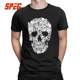 $enCountryForm.capitalKeyWord Australia - Cat Skull Design Horror Skull T Shirt Halloween Men Short Sleeve Men Terror T-shirt Cotton High Quality Round Neck Tees Printing Y19072201