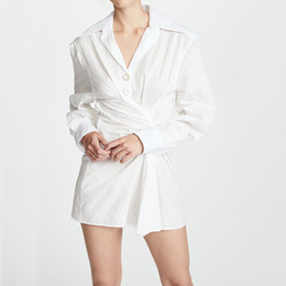b1710565ba895 Discount mini dresses shirt korean - Irregular White Shirt Dress For Women  Long Sleeve High Waist