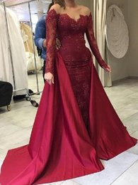 Wholesale Detachable Burgundy Mermaid Prom Dresses New Long Sleeve Lace Applique Beading Scoop Neck Floor Length Formal Evening Dress Party Gowns