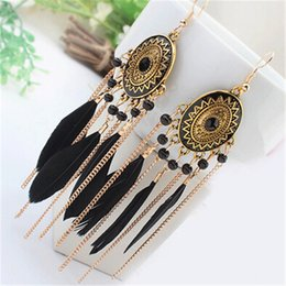 Big feather earrings online shopping - ZOSHI Long Tassel Fashion Feather Style Ethnic Boho Big Dangle Statement Earring Wedding Earrings Accessories