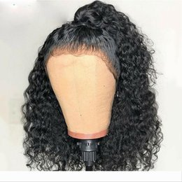 curly synthetic lace closure NZ - New Brazilian Deep Wave Curly Lace Closure Wigs Pre Plucked With Baby Hair short curly synthetic lace front Wigs For Black Women