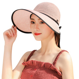 Camping hiking hats online shopping - Outdoor Sunscreen Straw Hat Female Big Eaves Cap Onion Dome Sunbonnet Bandage Design Simple Blue Yellow zy C1