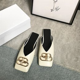 Half toe slippers online shopping - Women Baotou Half Slipper Chunky Heels Metallic Button Square Toe Sandals Fashion Summer Outdoor Slipper RRA987