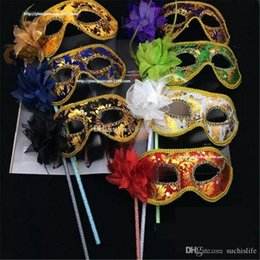 holding sticks for mask Australia - Venetian Masquerade Fancy Dress Mask on Stick Mardi Gras Costume Eyemask Printing Halloween Carnival Hand Held Stick Party Masks aa705-712