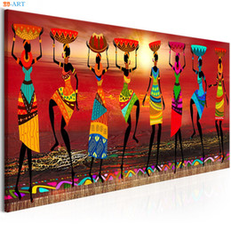 Dance art painting online shopping - African Women Dancing Print Colored Poster Canvas Painting Tribal Wall Art Wall Pictures for Living Room Decoration