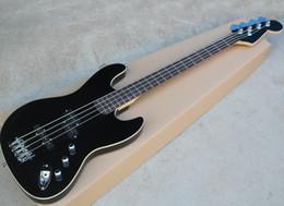 Черный 4-струнный электрический джазовый бас с палисандровым грифом с белым переплетом, хромированная фурнитура, может быть настроена по запросу на Распродаже