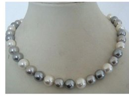 Stunning Necklaces Australia - stunning +9-10mm tahitian white grey color pearl necklace 16 inch 925silvevcdvcr
