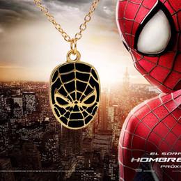 $enCountryForm.capitalKeyWord Australia - DC Anime Spiderman Necklace Vintage Super hero Spider-man The Amazing Spiderman Mask Pendant Necklace for Fans gift