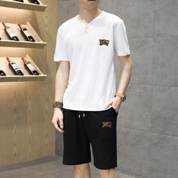 $enCountryForm.capitalKeyWord Australia - New Pattern Man Tracksuit Lapel And Short 51t Sleeve Motion Trousers Korean Edition Embroidery Leisure Sports Suit 2019