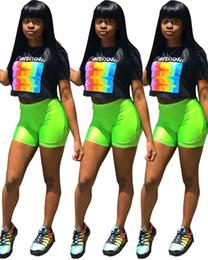 $enCountryForm.capitalKeyWord Australia - Letter Printed O Neck Short Sleeve Pullover T-Shirt And Green Color Sheath Above-Knee Shorts Summer Streetwear 2 Piece Set