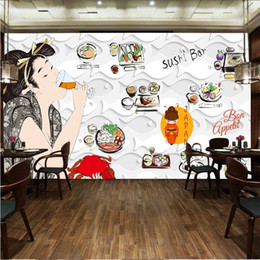 japanese art styles 2019 - Japanese Cuisine Sushi Restaurant Industrial Decor Wall Paper 3D White Paper-cut Art Fish-shaped Background Mural Wallpa