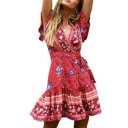 eb94d19dae4e 2019 Summer Female Short Sleeve Elegant Sexy Fashion New Dot Sashes Dress  Asymmetrical Dresses Bohemian Mid-Calf V-Neck