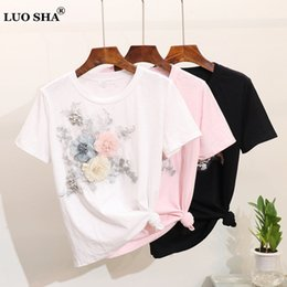 3d flower tee Australia - Luosha Women 2019 Summer Stylish Fashion Short Sleeve Embroidery Appliques 3d Flowers Tops And Tees Female White Pink T Shirt Y19051301