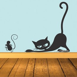 Large mouse waLL stickers online shopping - Cat Chasing Mouse Vinyl Wall Stickers Available In Different Colors Wall Decal Decor Kids Room Living Room Mural Poster