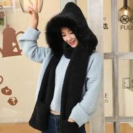 scarf shops Canada - Cute Plush Hooded Scarf Hat Pocket Gloves 3 in 1 Warm for Women Winter Outdoor NYZ Shop