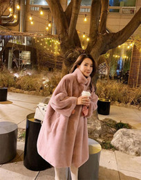 Wholesale long fur pink womens coat for sale - Group buy Fur Womens Coats Designer Solid Pink Color Fashion Warm Clothes Casual Luxury Long Coats Winter Faux