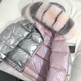 Women Winter Parka Australia - Large Real Natural Fox Fur 2018 Winter Jacket Women Down Parkas Coats Hooded White Duck Down Jacket Double Sided Waterproof Coat