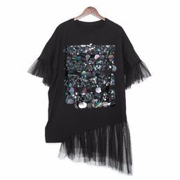$enCountryForm.capitalKeyWord UK - 2019 New Spring Summer Round Neck Short Sleeve Black Sequins Joint Mesh Big Size Dress Women Fashion Tide Jr753