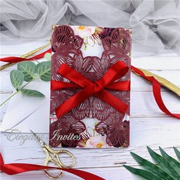 $enCountryForm.capitalKeyWord Australia - Burgundy Exquisite Iridescent Pearl Paper Wedding Invitation Card Leaves Pattern Hollow Out Carved Crafts Card for Wedding Party free ship