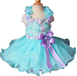 Wholesale Toddler Pageant Dresses Flower Baby Blue Cupcake Kids Prom Gowns Crystal Beaded Halter Formal Little Girls Birthday Party Dress