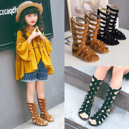$enCountryForm.capitalKeyWord Australia - New Baby Retro Bow Roman sandals rubber bottom Tall tube sandals Girls fashion Open toe shoes C948
