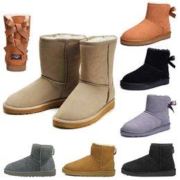 $enCountryForm.capitalKeyWord Australia - Hot WGG Women boots Short Mini Australia Knee Tall Winter Snow Boots Designer Bailey Bow Ankle Bowtie Black Grey chestnut red size 5-10