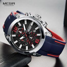 Hand Watch For Men Sports Australia - Megir Men's Chronograph Analog Quartz Watch with Date, Luminous Hands, Waterproof Silicone Rubber Strap Wristswatch for Man