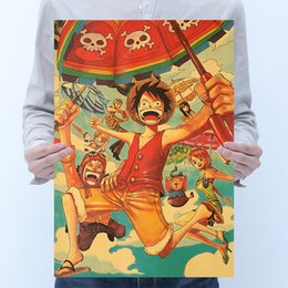 luffy painting Australia - One Piece Luffy P Style Kraft Paper Poster Painting Classic Anime Film Poster Home Decor Wall Sticker 36X51.5cm