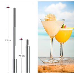 Small plaStic SpoonS online shopping - Creative Stainless Steel Telescopic Tubularis Portable Environmental Drink Straw Small Silver Practical Durable Metal Straws kg Ww