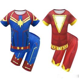 Superhero Shirts Wholesale Australia - hot Avengers Alliance 4 Captain Marvel Boys Shazam Costume Kids Superman Cosplay Superhero Party Cosplay t-shirt+short pant summer set