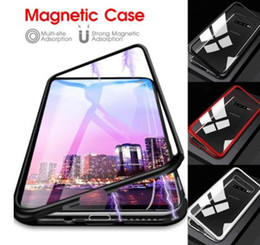 iphone front yellow Canada - 360 Degree Full Magnetic Case For Samsung Galaxy S8 S9 S10 Plus S10e Front Back Double Glass Glass Case Cover S10 Note 8 9 A60 A50 A70 Case