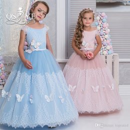 $enCountryForm.capitalKeyWord NZ - Lovely Pink Wedding Flower Girl Dresses Lace Jewel Neck Cap Sleeves Sash with Butterfly 2019 Long Baby Child Communion Party Dresses Cheap