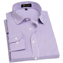 dress black top white work UK - Men's Long Sleeve Regular-fit Dress Shirt With Chest Pocket Plus Size Pinstriped twill broadcloth Male Tops Formal Work Shirts Y190506