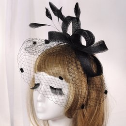 $enCountryForm.capitalKeyWord Australia - Fashion Women Wedding Hat Black Headband Bridal Party Gifts Veil Hair with Feather Bridal Hats and Fascinators