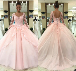 light pink gold quinceanera dresses Australia - Light Pink Quinceanera Dresses Long Sleeves Ball Gown Princess Sweet 16 Birthday Sweet Girls Prom Party Special Occasion Gowns