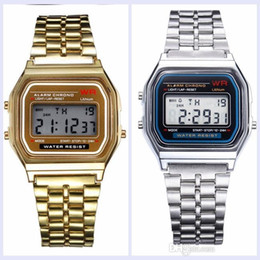 Cold Blue Steel Australia - Hot sale F-91W fashion electronic watch Military LED ultra-thin cold light Unisex watch Steel belt Free shipping
