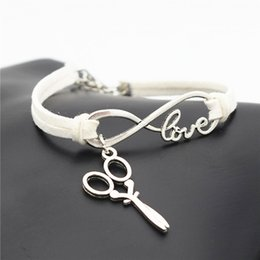 $enCountryForm.capitalKeyWord NZ - Hot Sale Handmade 10 Color White Leather Suede Wrap Bracelets Bangles For Women Men Infinity Love Barber Scissors Scalpel Charm Jewelry Gift