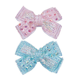 "kids rhinestone hair clips NZ - 2Pcs lot 4"" Boutique Ribbon Hair Bow For Girls Full Rhinestone Bling Hair Clips For Kids' Party Accessories"