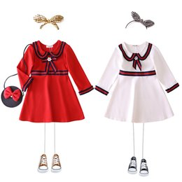 White red boW dress for baby online shopping - Retail baby girl dresses High lapel bows beaded patchwork princess dresses for kids designer clothes girls Dress children boutique clothing
