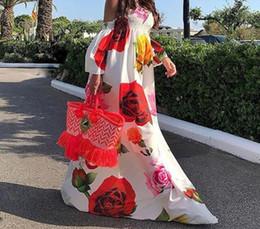 Discount white dress big floral print - Print Big Red Floral Flower Long Floor-Length Maxi Dress Women Sexy Strapless Summer Beach Dress Boho Bohemian Sundress