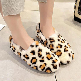 leather winter wear Canada - 2020 Fur shoes women's low round head flat leopard plus velvet cotton shoes winter home wear size 35-40