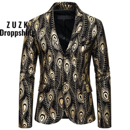 peacock print clothes 2021 - ZUZK Gold Peacock Print Party Suit Jacket Men Single Breasted Slim Fit Blazer Mens Men Club Party Prom Stage Clothes
