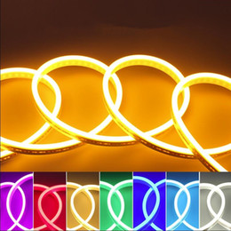Discount roll white neon lights - 5M Roll Waterproof Flex Silicone LED Neon Light DC12V Soft Belt Name Board Building Home DIY Rope Strip Light IP68 Indoo