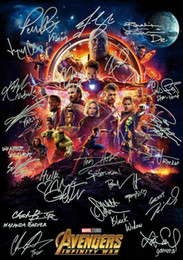 Wholesale painting signatures for sale – custom Avengers Infinity War signature Movie Art Silk Print Poster x36inch x90cm