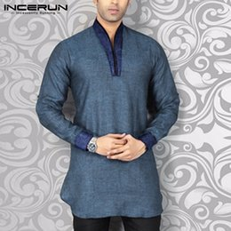 indian clothing sizes NZ - INCERUN Shirt Streetwear V Neck Long Sleeve Patchwork Fitness Vintage Casual Shirts Men Indian Clothes Plus Size 2020 MX200518