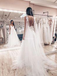 $enCountryForm.capitalKeyWord Australia - Elegant 2019 New Wedding Dresses Hand Made Flowers Spaghetti Strap Backless Sweep Train A Line Country Bridal Gown Garden Vestidoe De Noiva