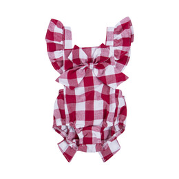 $enCountryForm.capitalKeyWord UK - Newborn Baby Girl Bodysuit Summer Toddler Kid Red Plaid Backless Bodysuit Bowknot Headband Jumpsuit Sunsuit 2Pcs Outfit 0-18M